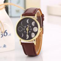 Wholesale Men Watches Eco - Lunar Eclipse Watches Imitation Leather Fashion Dress Bracelet For Men And Women Quartz Wristwatches Hot Sale 5 5lb F R