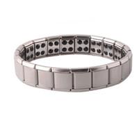 Wholesale health steel titanium bracelet - Health bracelets magnetic GE power titanium steel Magnetic Energy 80 Germanium Power Bracelet energy Balance bangles drop ship 160816