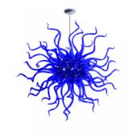 ingrosso lampadari a lampadario a fiori-Stile del fiore blu lampadario lampada a sospensione a risparmio energetico a mano Sorgente luminosa in vetro soffiato Lampadario figura sferica