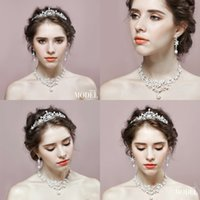 Wholesale Cheap Silver Crown Stud Earrings - Shiny Pearl Beaded Bridal Accessories Crystal Crown&Necklace&Earrings Three Piece Set Fashion Bridal Jewelrys Cheap Bridal Accessories