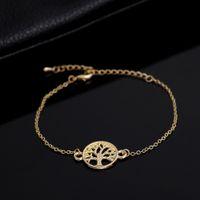 Wholesale Bow Bracelets Chain - Fashion Link Chain Tree of Life Charm Bracelet And Double Dainty Bow Bracelets for Women Brass Bracelet