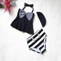 Wholesale Swimsuit Breast - 2016 new children swimsuit girls stripe Bows high waist double-breasted swimwear big kids spa swimsuit children beach swimsuit 11-15T 7335