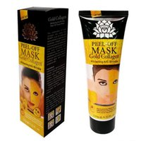 Wholesale peel off mask whitening - Peel Off Gold Collagen Facial Mask Whitening Anti Winkles Face Mask Crystal Gold Powder Collagen Facial Mask Skin Care Products 120ML