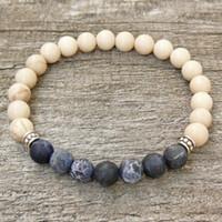 Wholesale Blue Elastic Bracelet - SN0329 Men`s 8mm Braizl Blue Strip Stone Bracelet Men natural stone bracelet elastic bracelets wholesale fee shipping