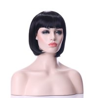 Wholesale Long Bob Wigs Bangs - Fashion Stylish Middle Long Straight 1B Color Synthetic wigs Hair Bob Wig Full Bang Heat Resistant Daily Life Wigs