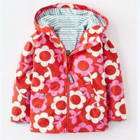 Wholesale Toddler Coats Girls Red - Spring Autumn Fashion Baby Girls Hoodies Toddler Girls Jackets Flower Kids Outerwear Children Coat Windbreaker Girl Clothes