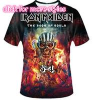 homens do tampão camisetas homens venda por atacado-Nova Moda Casais Homens Mulheres Iron Maiden e Crânio 3D Impressão Sem Cap Casual T-Shirts Tee Tops Atacado S-5XL T21