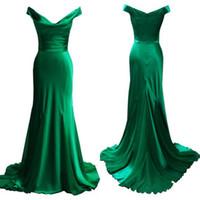 ingrosso vestito increspato verde smeraldo-Abiti da sera verde smeraldo di alta qualità Sirena con spalle scoperte Scollo drappeggiato Increspature Abiti da ballo Prom Abiti formali Sweep Train