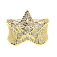 Wholesale 18k Gold Plated Ring Mens - 2017 silver gold color mens jewelry wedding engagement hip hop bling size 9-11 micro pave cz star mens gold ring