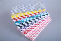 Wholesale Drinking Straws Bar Paper - Free Shipping Wholesale 5000 pcs Drinking Paper Straw Colorful Drink Strip Paper Straws fast free shipping