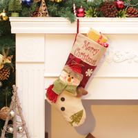gran adorno de navidad al por mayor-Medias Envío gratis Calcetín navideño Tamaño grande Saco de Santa Claus Papá Noel Muñeco de nieve Bolsas de regalo Bolsas de dulces Colgante de Navidad Adorno Relleno