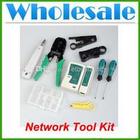 probador de herramientas de red al por mayor-Comercio al por mayor Cable Tester + Crimp Crimp + RJ45 RJ11 Cat5 Conector Plug Network Tool Kit Lots100