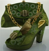 Wholesale Green Shoes Matching Bag - Green Newest Casual Style Italian Shoes With Matching Bags ME0067