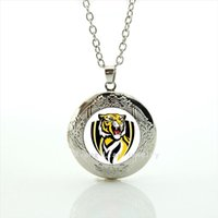 Wholesale Tiger Crystal Necklaces - Cool animal tiger picture locket necklace sport rugby Richmond est 1885 jewelry birthday gift for men and boys NF061