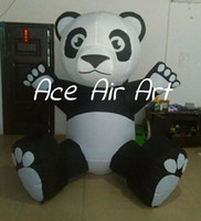 Wholesale giant pandas toys online - giant lovely inflatable China Panda model panda mascot for toy store promotion advertising tools or party decoration