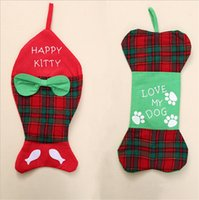2 Styles Christmas Calze Decorazioni Ornament Party happy kitty e I love my dogSanta Christmas Stocking Candy Socks Bags Xmas Gifts B
