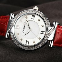 Wholesale Sinobi Watches Quality - SINOBI Designer Womens Watches For Top Luxury Brand Ladies Red Leather Wrist Quartz-Watch Sliver Diamond Quality Females Clock