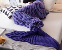 Wholesale Knit Queen Blanket - new brand fish scales knitted mermaid tail blanket Cashmere-Like TV Air conditioning leisure Sofa Tail Handmade Crochet Blanket Wrap Lov,