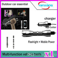 Wholesale Power Supply Gold - 1pcs Multi function Vehicle supply Car Safety Hammer+Cutter+Car Charger+Flashlight+Portable Power Supply Warning Light+Defense+SOS YX-CZ-01