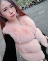Wholesale Genuine Fox Fur Coat Jacket - Hot Sale Real Fox Fur Vest Luxury Brand Women Outwear Coat Jacket Natural Silver Fur Vest Waistcoat Genuine Spell Fox Fur Gilet