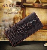 Wholesale Shop Wallets Men - new Crocodile pattern Wallets long style real Genuine Leather men Wallets fashion and casual business wallets cheapest for free shopping