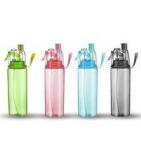 spray de agua nebulizada al por mayor-Spray Cup Creative Button Mist Viajes al aire libre Deportes portátiles Gran capacidad a prueba de fugas Dual Use botella de agua 11 9dy F R