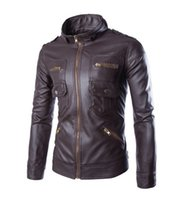 Wholesale Jacket Coat Leather Korea - 2016 new arrive Korea men's jacket Multi zipper motorcycle pu leather jacket stand collar men's coats coffee 4659