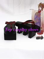 Wholesale vocaloid cosplay custom - Wholesale-Freeshipping Vocaloid Cenbonzakura Meiko Cosplay Sandals shoes geta custom-made for Halloween Christmas festival party