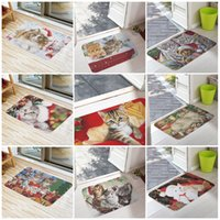 Wholesale welcome doormat - Welcome Floor Mats Christmas Cute Cat Printing Bathroom Kitchen Carpets House Doormats for Living Room Anti-Slip Tapete Rug 16X24inch