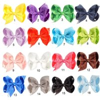 """Wholesale Hair Clips Bows Lace Girls - 16 Pcs lot 4"""" High Quality Handmade Solid Lace Hair Bow For Baby Girls Boutique Ribbon Bow With Clip Children Hair Accessories"""