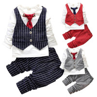 Wholesale Gentleman Style Boy Clothes - PrettyBaby 2016 Baby Boy Clothes Sets Gentleman Suit Toddler Boys Clothing Set Long Sleeve Kids Boy Clothing Set Birthday plaid Outfits