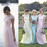 Wholesale Mint Green Gowns - Lace Chiffon Maid of Honor Dresses A line Plus Size Cap Sleeve Pink Mint Light Yellow Bridesmaid Party Evening Gowns 2016 Spring Custom