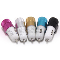 Wholesale Adapter Charger Color Eu - Promotion Dual USB Port Car Charger 5 Color For Smartphone Car Adapter Universal Chargers Fast Delivery