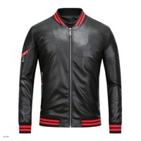 Wholesale Cheap Pu Jackets - 2017 new men's high quality leather jacket Jacket Mens zipper cardigan T PU hip hop super cheap leather large size m-3xl