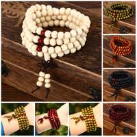 Wholesale sandalwood bracelet mala online - Charm Bracelet Natural Sandalwood Buddhist Buddha Meditation Beads Bracelets For Women Men Jewelry Prayer Mala Rosary Beads Bracelets