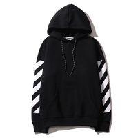Wholesale Mens Fleece Sweaters - OFF WHITE Sweater mens pullover stripe print OFF WHITE hoodies harajuku hip hop fleece Sweatshirts skateboards streetwear