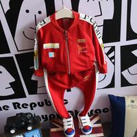 Wholesale Kids Korean Tracksuit - 2016 Fashion Korean Boys Clothes Printing Tracksuits Sports casual Children Set Kids Suit Outfits coat pants Boy Suit Lovekiss C29582