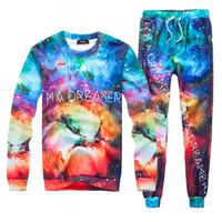Wholesale Cosmic Print - Men Boys Joggers Suits Tracksuit Unisex Cosmic starlight Print 3D Pattern Pants + Hoodie Sweatshirts Emoji Outfit Sweatpants Set
