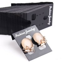 Wholesale Stud Display Stand - New Arrival 100pcs Professional Plastic Earring Ear Studs Holder Display Hang Cards Black Jewelry Stores Necessities EAR-0276