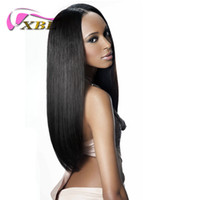 pelucas de pelo negro para la venta al por mayor-Venta de junio XBL Peluca delantera recta sedosa Peluca brasileña de cabello humano para las mujeres negras dentro de la banda y pinzas para el cabello