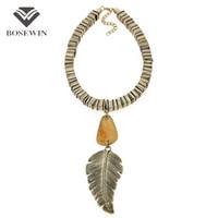 ingrosso catene indiane-Indiano stile grande acrilico vintage foglia collana pendente collana gioielli metallo catena Maxi Choker Collier Femme CE4137