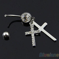 Wholesale Cross Eyebrow Ring - 2016 New Fashion Double Cross Dangle Belly Button Navel Ring Body Piercing Jewelry 09ID