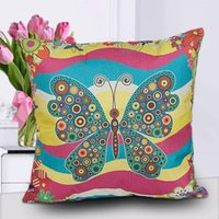 Wholesale Plant Dye - New Style Plant Animal Pattern Pillow covers Butterfly Design Pillow Covers Butterfly Pillowcase Home Decor Butterfly Cushion Covers