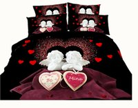 Wholesale Love Bedspreads - 3 Styles Cupid Love 3D Printed Bedding Sets Twin Full Queen King Size Bedclothes Bedspreads Duvet Covers Adult Valentine Heart Red Diamond