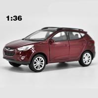 Wholesale hyundai car models online - High simulation Hyundai Tucson IX35 alloy pull back car model scale diecasting metal model door can open toy vehicles