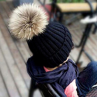 Wholesale Warm Stylish Winter Hats - Stylish Winter Warm Kids Caps with Fur Ball Thick Cotton Childrens Knitted Hat for Boys and Girls J001