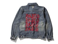 Wholesale Men Hooded Jean Jacket - KANYE WEST SEASON 3 oversized PABLO men Jackets broken hole jean coat HIPHOP Motorcycle jacket men Jeans denim jacket