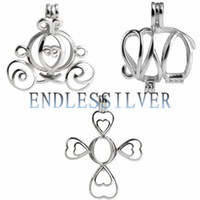 Wholesale Sterling Pendant Mounting - 3 Pieces Wishing Pearl Carriage Elephant Cross Cage Pendant 925 Sterling Silver Gift Jewellery Pendant Mounting for Pearl Party