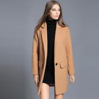 Wholesale Ladies Camel Coat - 2017 Winter Women's Women's Woolen Outerwear Black Camel Long Wool Blend Coat For Lady Elegant Casual Oversized Woman Clothing