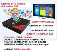 Wholesale Hd Services - Lifetime IPTV Service E8 Android tv box S905X with 2700 channels Brazil Latino Turkish French IPTV KD 17.3 Free IPTV h.265 4k*2k Video